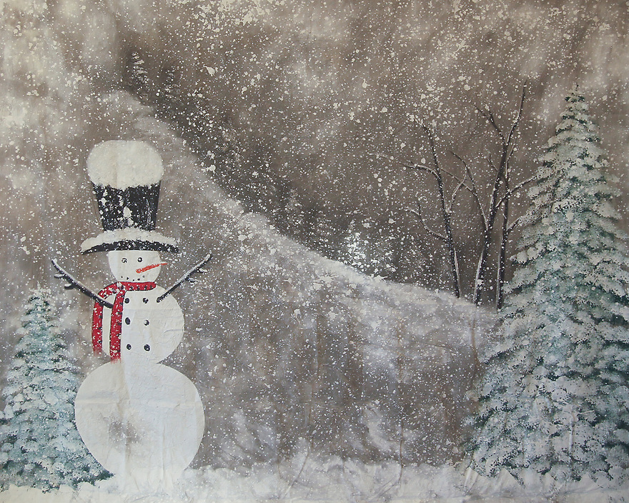 Backdrop featuring a snowman and Christmas tree in a snow scene