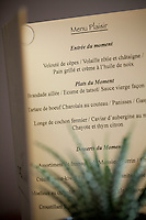 Menu at Flaveur restaurant, Rue Gubernatis, Nice, France 30 November 2011.