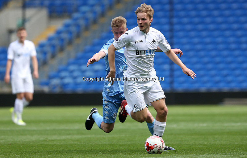 Tom Dyson of Swansea City during the FAW Youth Cup match between Swansea City and Cambrian and Clydach at The Cardiff City Stadium, Cardiff, Wales, UK. Sunday 23 April 2017