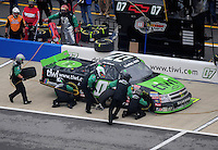 Oct. 31, 2009; Talladega, AL, USA; NASCAR Camping World Truck Series driver Chad McCumbee pits during the Mountain Dew 250 at the Talladega Superspeedway. Mandatory Credit: Mark J. Rebilas-