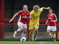 Kim Little of Arsenal evades Adele Pivonkova - Arsenal Ladies vs Sparta Prague - UEFA Women's Champions League at Boreham Wood FC - 11/11/09 - MANDATORY CREDIT: Gavin Ellis/TGSPHOTO - Self billing applies where appropriate - Tel: 0845 094 6026