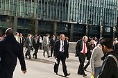 Office workers at lunchtime in Canary Wharf on the Isle of Dogs in London's Docklands