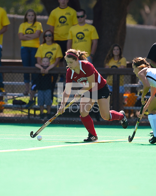 STANFORD, CA - SEPTEMBER 7, 2012.  Stanford Field Hockey takes on the Iowa Hawkeyes in a match contested at the Varsity Field Hockey Turf in Stanford, California.  Stanford topped Iowa, 3-2.