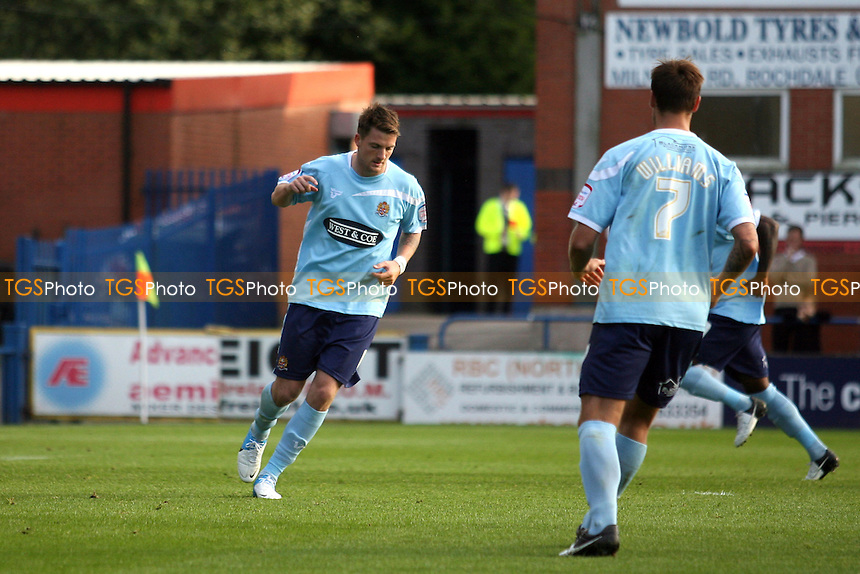 Michael Spillane of Dagenham celebrates scoring the opening Daggers goal - Rochdale vs Dagenham at the Spotland  Stadium  - 22/09/12 - MANDATORY CREDIT: Dave Simpson/TGSPHOTO - Self billing applies where appropriate - 0845 094 6026 - contact@tgsphoto.co.uk - NO UNPAID USE.