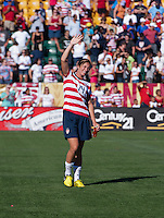 Abby Wambach (14) of the USWNT salutes the crowd after a friendly match at Sahlen's Stadium in Rochester, NY.  The USWNT defeated Costa Rica, 8-0.