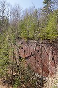 Remnants of the abandoned mill at Livermore Falls along the old Pemigewasset Valley Railroad in Campton, New Hampshire. Operated by the Boston and Maine Railroad, the Pemigewasset Valley Railroad was a railroad connecting Plymouth to North Woodstock, New Hampshire.