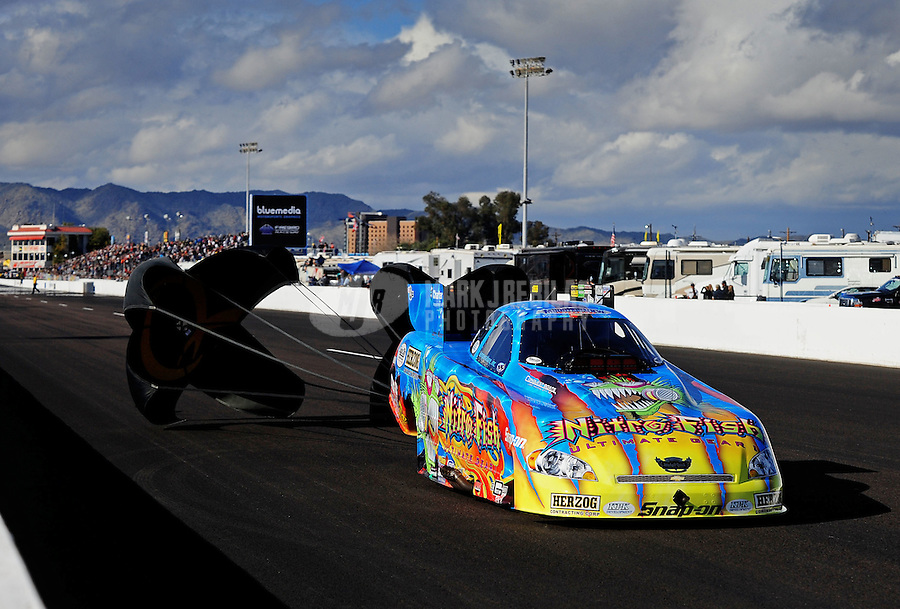 Feb. 20, 2010; Chandler, AZ, USA; NHRA funny car driver Tony Pedregon during qualifying for the Arizona Nationals at Firebird International Raceway. Mandatory Credit: Mark J. Rebilas-