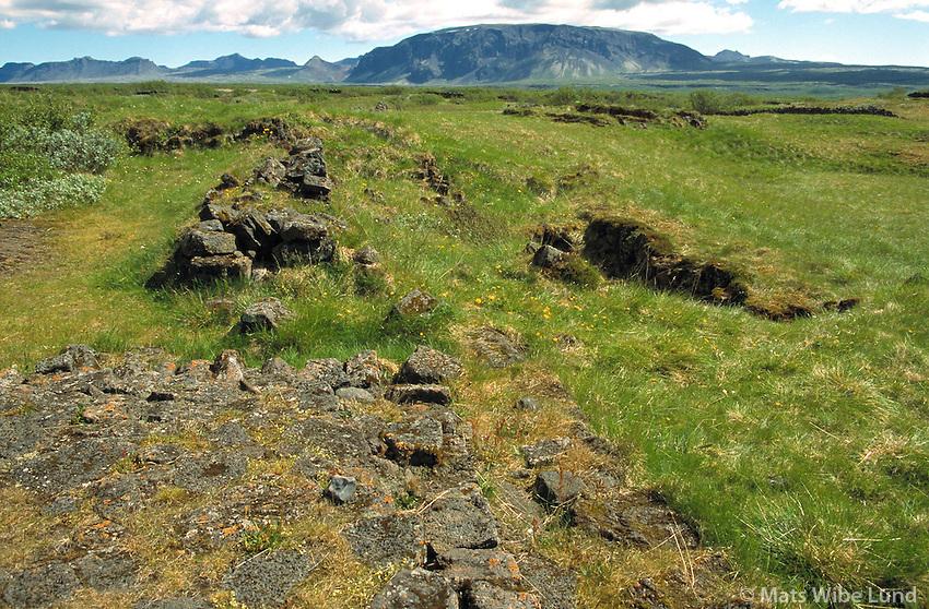 Hrauntún, eyðibýli, Þingvallahreppur.Hrauntun former farmstead, in Thingvallahreppur