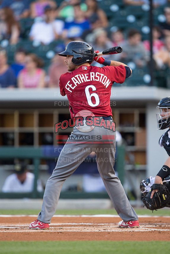 Taylor Featherston (6) of the Lehigh Valley Iron Pigs at bat against the Charlotte Knights at BB&T BallPark on June 3, 2016 in Charlotte, North Carolina.  The Iron Pigs defeated the Knights 6-4.  (Brian Westerholt/Four Seam Images)