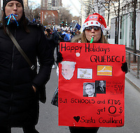 Teachers demonstrate in downtown Montreal,<br /> <br /> Over 110 000 Quebec province's public sector employees from schools<br /> , Hospitals, CEGEP and CHSLD take part in a 2 days strike, November 16 and 17, 2015. <br /> <br /> PHOTO : yves provencher  - Agence Quebec Presse