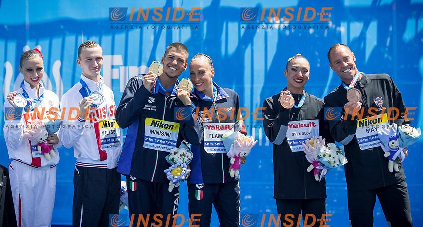 ITA Italy FLAMINI Manila MINISINI Giorgio gold medal, RUS Russia KALANCHA Mikhaela MALTSEV Aleksandr silver medal, USA United States MAY Bill SPENDLOVE Kanako Kitao bronze medal<br /> Synchronised swimming , Synchro<br /> mixed duet tecnhical final<br /> 17/07/2017 <br /> XVII FINA World Championships Aquatics<br /> City Park - Varosliget Lake<br /> Photo @ Giorgio Perottino/Deepbluemedia/Insidefoto