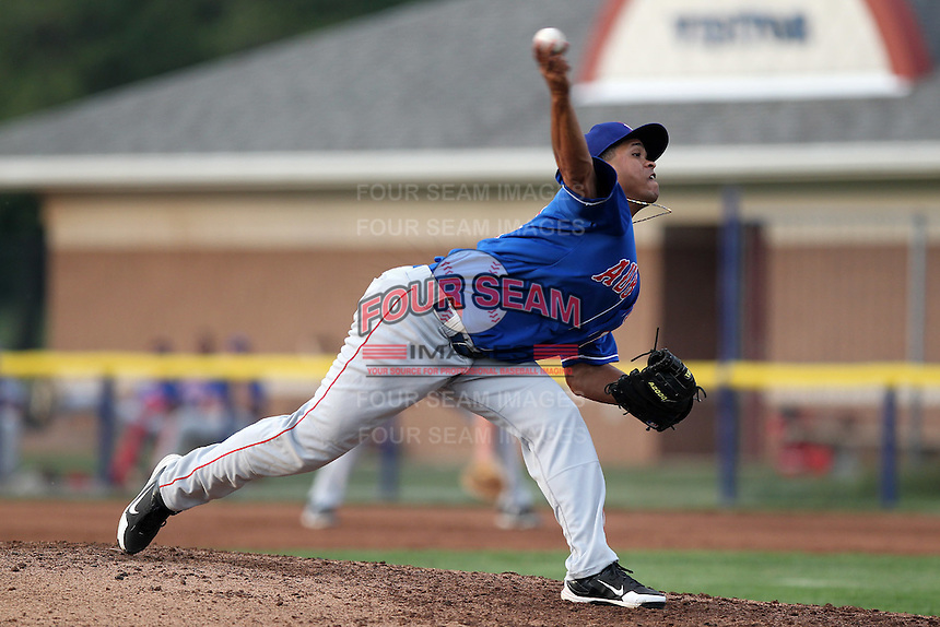 Auburn Doubledays pitcher Silvio Medina #14 delivers a pitch during a game against the Batavia Muckdogs at Dwyer Stadium on June 18, 2012 in Batavia, New York.  Auburn defeated Batavia 6-5.  (Mike Janes/Four Seam Images)