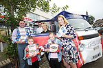 Mrs Cavelle Fabrizi and her husband Gaetano with their two daughters, Isabella and Jessica collecting her prize of a years supply of Braces Bread from Carl Arataki a member of Braces Fun Team and Stacey Marie Osbourne who works in the families local Spar store in Rumney.<br /> 21.09.13<br /> <br /> &copy;Steve Pope-FOTOWALES
