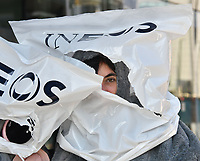 Joseph Corr&eacute;, activist and son of Dame Vivienne Westwood and the late Malcom McLaren takes part in anti-plastic and anti-fracking photocall, featuring a six foot penguin, dolphin, fish and seagull with plastic bags over their heads to raise awareness of ocean conservation, at World Sailing HQ, London<br /> CAP/JOR<br /> &copy;JOR/Capital Pictures