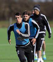 L-R Jack Cork, Alberto Paloschi and Ki Sung Yueng during the Swansea City FC training at Fairwood training ground in Wales, UK on Wednesday 06 April 2016