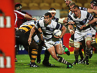 Auckland flanker Onosai'i Auva'a heads for the tryline. Air New Zealand Cup rugby match - Taranaki v Auckland at Yarrows Stadium, New Plymouth, New Zealand. Friday 9 October 2009. Photo: Dave Lintott / lintottphoto.co.nz