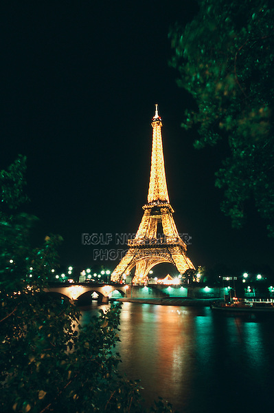 Eiffel Tower at night, Paris, France, Europe