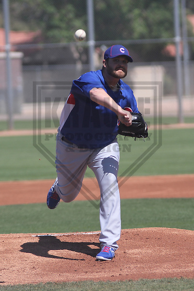 MESA - March 2013: Drew Carpenter (33)  of the Chicago Cubs during a Spring Training game against the Cincinnati Reds on March 24, 2013 at Fitch Park in Mesa, Arizona.  (Photo by Brad Krause). .