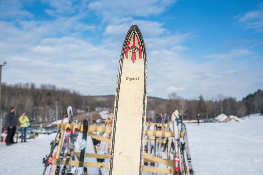 Vintage skis at Marquette Mountain Ski Area in Marquette, Michigan.