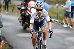 Stefan Denifl (AUT) Aqua Blue Sport leads the way on the brutal climb of Los Machucos during Stage 17 of the 2017 La Vuelta, running 180.5km from Villadiego to Los Machucos. Monumento Vaca Pasiega, Spain. 6th September 2017.<br /> Picture: Unipublic/&copy;photogomezsport   Cyclefile<br /> <br /> <br /> All photos usage must carry mandatory copyright credit (&copy; Cyclefile   Unipublic/&copy;photogomezsport)