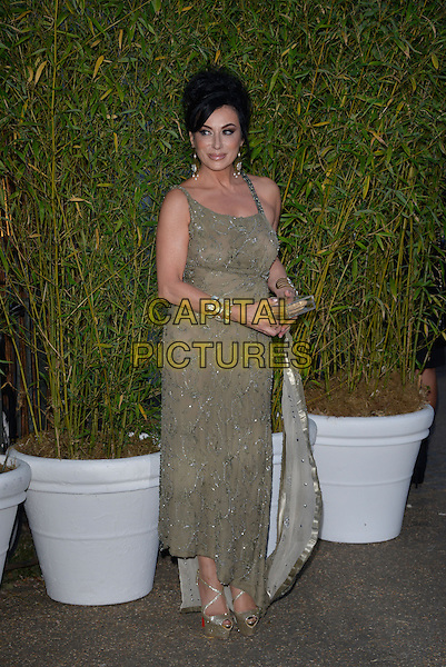 Nancy Dell'Olio<br /> Serpentine Gallery Summer Party, Kensington Park Gardens, London, England.<br /> 26th June 2013<br /> full length grey gray silver beads beaded dress clutch bag bracelet cuff platform peep toe shoes <br /> CAP/PL<br /> &copy;Phil Loftus/Capital Pictures