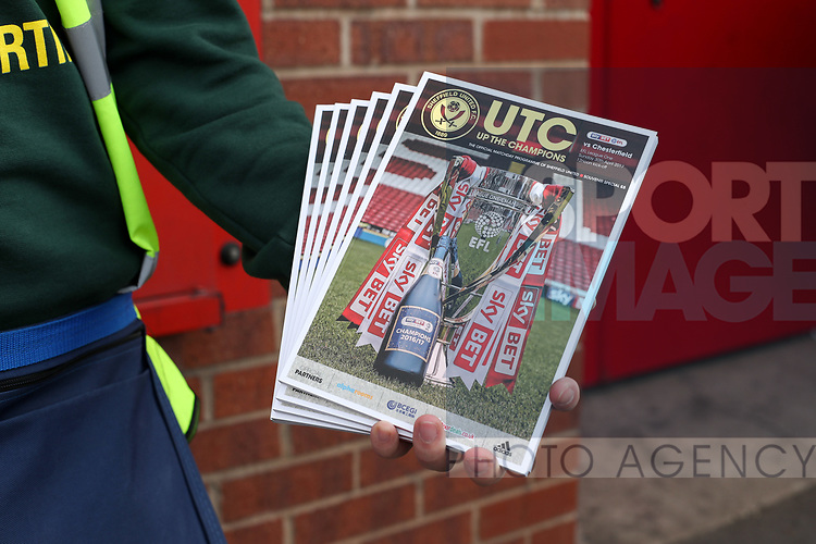 Match day program during the English League One match at Bramall Lane Stadium, Sheffield. Picture date: April 30th, 2017. Pic credit should read: Jamie Tyerman/Sportimage