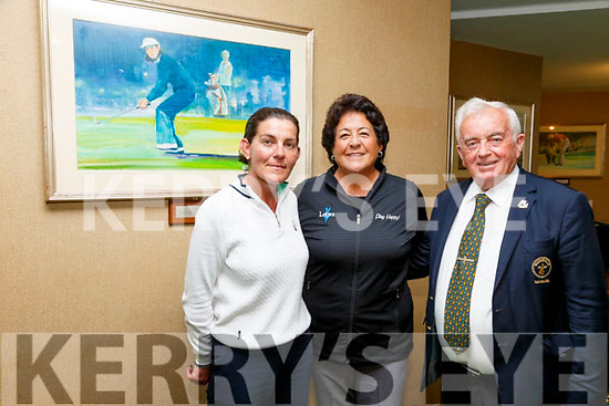 Nancy Lopez centre on a visit to Waterville Golf Links on Friday pictured here with Miriam Courtney(Member Concierge WGL) & Noel Cronin(Manager WGL) in front a painting of herself by Walt Spitzmiller at the 1978 Baltimore Classic.