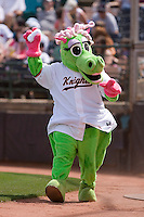 "Charlotte Knights mascot ""Caroline"" tosses t-shirts to the crowd at Knights Castle May 3, 2009 in Fort Mill, South Carolina. (Photo by Brian Westerholt / Four Seam Images)"