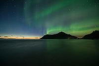 Northern Lights shine in sky over Hustind mountain peak from Skagsanden beach, Flakstadøy, Lofoten Islands, Norway