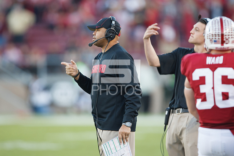STANFORD, CA -- November 23, 2013: David Shaw, head coach, during the Stanford vs Cal football game Saturday afternoon at Stanford Stadium.<br /> <br /> Stanford won  63-13.