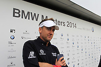 Ian Poulter (ENG) talks to the media during Wednesday's Pro-Am Day of the 2014 BMW Masters held at Lake Malaren, Shanghai, China 29th October 2014.<br /> Picture: Eoin Clarke www.golffile.ie