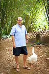 Author Paul Theroux at his home on the North Shore of Oahu, Hawaii