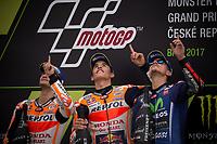 DANI PEDROSA - SPANISH - REPSOL HONDA TEAM - HONDA<br /> MARC MARQUEZ - SPANISH - REPSOL HONDA TEAM - HONDA<br /> MAVERICK VINALES - SPANISH - MOVISTAR YAMAHA MotoGP - YAMAHA<br /> PODIUM<br /> Brno 06-08-2017 <br /> Moto Gp Repubblica Ceca  <br /> Foto Vincent Guignet / Panoramic / Insidefoto