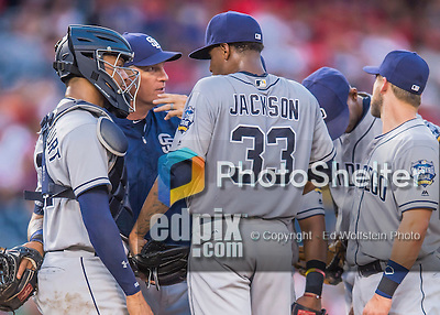 23 July 2016: San Diego Padres pitching coach Darren Balsley has words with starting pitcher Edwin Jackson during a game against the Washington Nationals at Nationals Park in Washington, DC. The Nationals defeated the Padres 3-2 to tie their series at one game apiece. Mandatory Credit: Ed Wolfstein Photo *** RAW (NEF) Image File Available ***