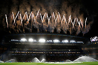 25th February 2020; Stamford Bridge, London, England; UEFA Champions League Football, Chelsea versus Bayern Munich; Fireworks display at Stamford Bridge before kick off