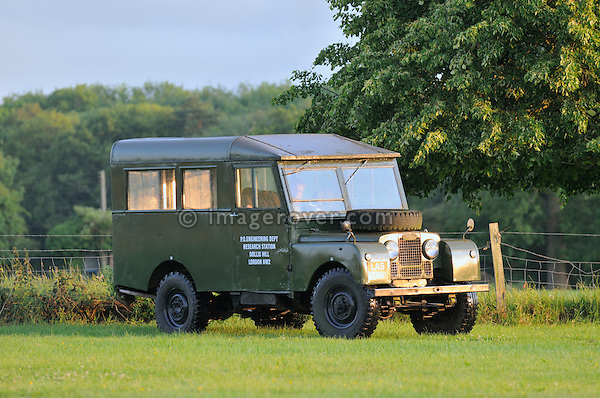 1950s Land Rover Series 1 107 inch with special body belonging to Mike Rivett. Dunsfold Collection of Land Rovers Open Day 2011, Dunsfold, Surrey, UK. --- No releases available, but releases may not be necessary for certain uses. Automotive trademarks are the property of the trademark holder, authorization may be needed for some uses.