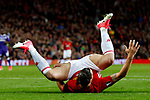 Zlatan Ibrahimovic of Manchester United takes a fall during the UEFA Europa League Quarter Final 2nd Leg match at Old Trafford, Manchester. Picture date: April 20th, 2017. Pic credit should read: Matt McNulty/Sportimage