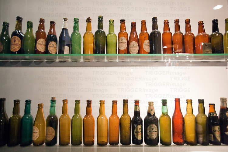Beer bottles exhibited at Guinness storehouse, Dublin, Ireland