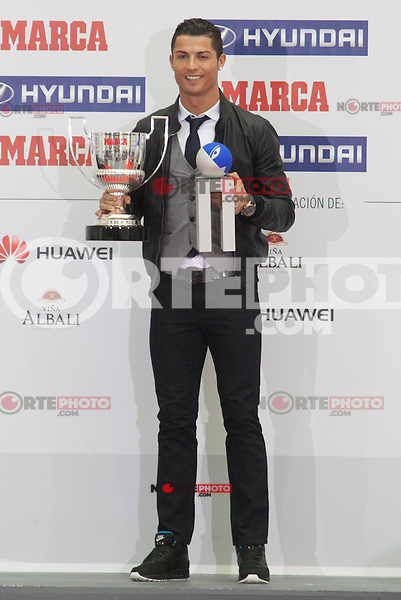 Real Madrid´s Cristiano Ronaldo receives Pichichi Award during the MARCA Football Awards ceremony in Madrid, Spain. November 10, 2014. (ALTERPHOTOS/Victor Blanco)
