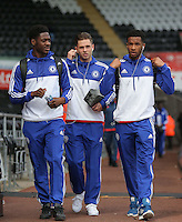 Charlie Colkett (C) of Chelsea with team mates arrive before the Barclays Premier League match between Swansea City and Chelsea at the Liberty Stadium, Swansea on April 9th 2016