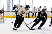 September 15, 2017: Boston Bruins left defenseman Rob O'Gara (44) stick checks left wing Matt Beleskey (39) during the Boston Bruins training camp held at Warrior Ice Arena in Brighton, Massachusetts. Eric Canha/CSM