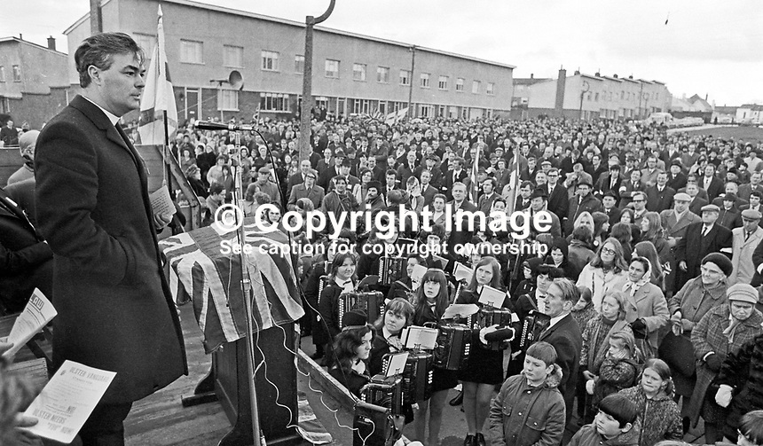 Rev Martin Smyth addresses an Ulster Vanguard public meeting in Lisburn, Co Antrim, N Ireland, February 1972. 197202000049<br />