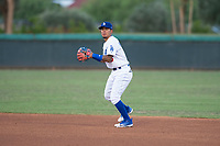 AZL Dodgers second baseman Kenneth Betancourt (3) prepares to make a throw to first base during an Arizona League game against the AZL White Sox at Camelback Ranch on July 3, 2018 in Glendale, Arizona. The AZL Dodgers defeated the AZL White Sox by a score of 10-5. (Zachary Lucy/Four Seam Images)
