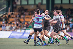 Natixis HFC (in stripes) vs Devils Own Shanghai Rugby (in grey) during GFI HKFC Rugby Tens 2016 on 07 April 2016 at Hong Kong Football Club in Hong Kong, China. Photo by Marcio Machado / Power Sport Images
