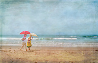 Women strolling on Beach under umbrellas, Digital oil painted texture,  Beautiful, Unique
