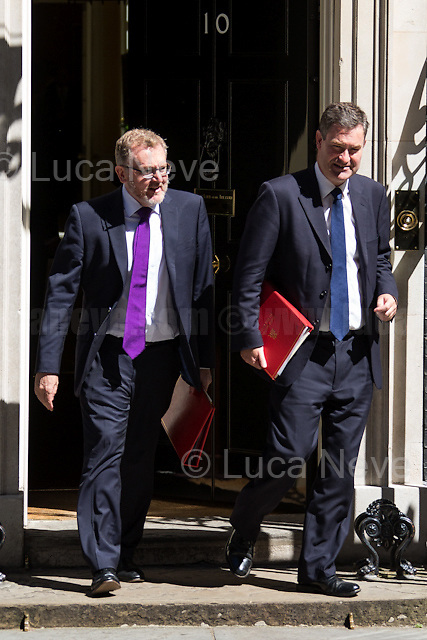 (From L to R) David Mundell MP (Secretary of State for Scotland) & David Gauke MP (Chief Secretary to the Treasury).<br /> <br /> London, 19/07/2016. First Cabinet meeting at 10 Downing Street (after the EU Referendum and consequent David Cameron's resignation) for the new Prime Minister Theresa May and her newly formed Conservative Government.<br /> <br /> For more information about the Cabinet Ministers: https://www.gov.uk/government/ministers