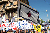 Rome 12 May 2007.People demonstraes during the 'Day of the Family' protest against a government plan to grant homosexual couples legal status, in front of the Basilica of Saint John Lateran in Rome .The flag of Milithia Christi
