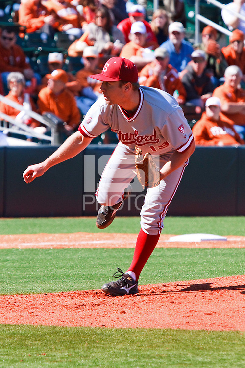 AUSTIN, TEXAS-March 5, 2011:  Starter Dean McArdle of Stanford delivers a pitch during the game against the Texas Longhorns, at Disch-Falk field in Austin, Texas.  Stanford defeated Texas 9-2.
