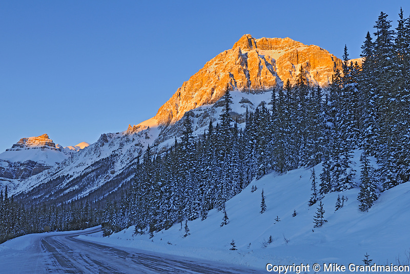 The Icefields Parkway  in the Canadian Rocky Mountains at sunrise, Banff National Park, Alberta, Canada