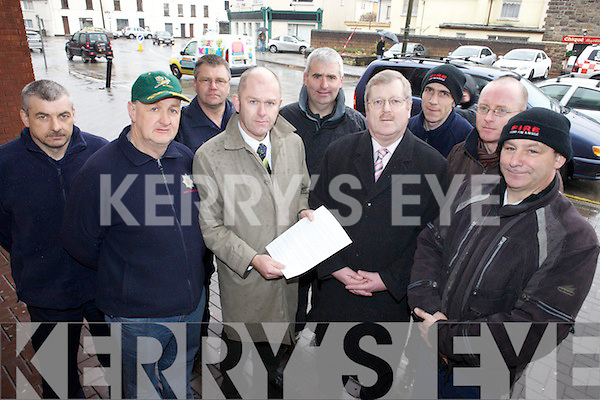 ALLIANCE: Members of the newly formed Kerry Public Service Alliance which has written to Government TDs this week in protest at cuts in the public service, front l-r: Brian McKiverghan (SIPTU), Martin O'Grady (TUI), Pat Keane (PSEU), Maurice Griffin (SIPTU). Back, l-r: John Fitzgerald (SIPTU), Nigel Cronin (SIPTU), Seamus Moriarty (GRA), John O'Donnell (SIPTU), John O'Connor (CPSU).
